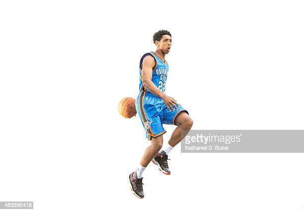 Cameron Payne of the Oklahoma City Thunder poses for a portrait during the 2015 NBA rookie photo shoot on August 8 2015 at the Madison Square Garden...