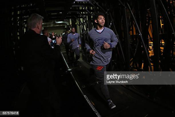 Cameron Payne of the Oklahoma City Thunder runs out of the tunnel before Game Five of the Western Conference Finals against the Golden State Warriors...