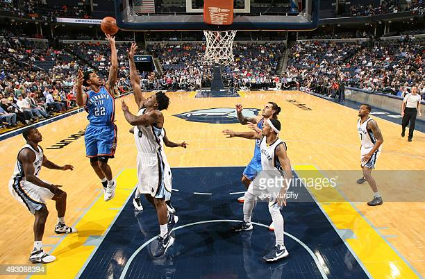 Cameron Payne of the Oklahoma City Thunder shoots against the Memphis Grizzlies on October 16 2015 at FedExForum in Memphis Tennessee NOTE TO USER...