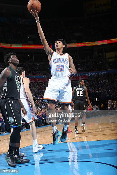 Cameron Payne of the Oklahoma City Thunder shoots the ball against the Milwaukee Bucks on December 29 2015 at Chesapeake Energy Arena in Oklahoma...