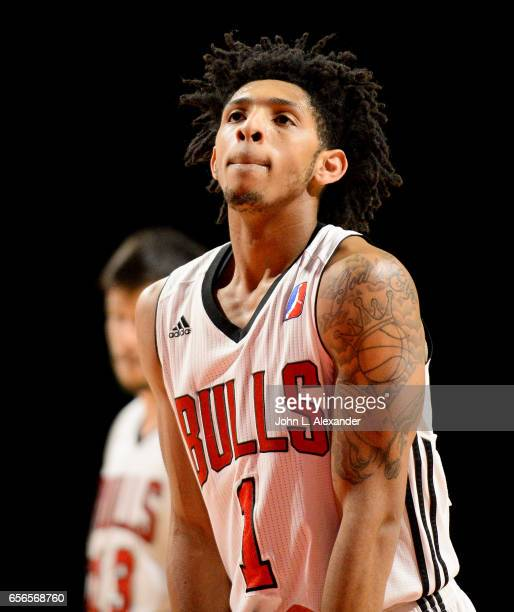 Cameron Payne of the Windy City Bulls at the free throw line against the Westchester Knicks on March 21 2017 at the Sears Centre Arena in Hoffman...