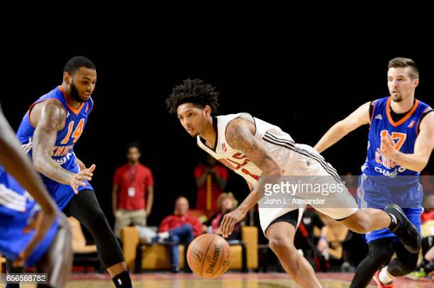 Cameron Payne of the Windy City Bulls controls the ball against the Westchester Knicks on March 21 2017 at the Sears Centre Arena in Hoffman Estates...