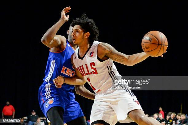 Cameron Payne of the Windy City Bulls handle the ball against the Westchester Knicks on March 21 2017 at the Sears Centre Arena in Hoffman Estates...