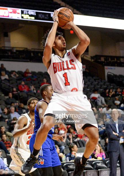 Cameron Payne of the Windy City Bulls shoots a jump shot against the Westchester Knicks on March 21 2017 at the Sears Centre Arena in Hoffman Estates...