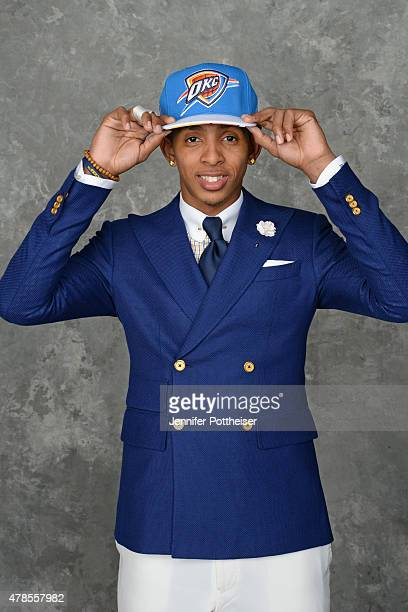 Cameron Payne poses for a portrait after being drafted number fourteen overall by the Oklahoma City Thunder at the Barclays Center on June 25 2015 in...