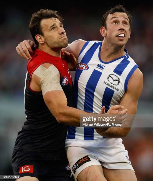 Cameron Pedersen of the Demons and Todd Goldstein of the Kangaroos in action during the 2017 AFL round 09 match between the Melbourne Demons and the...