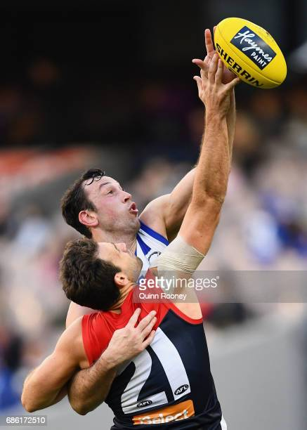 Cameron Pedersen of the Demons and Todd Goldstein of the Kangaroos compete in the ruck during the round nine AFL match between the Melbourne Demons...