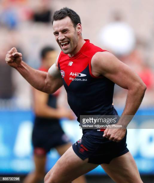 Cameron Pedersen of the Demons celebrates during the 2017 AFL round 22 match between the Melbourne Demons and the Brisbane Lions at the Melbourne...
