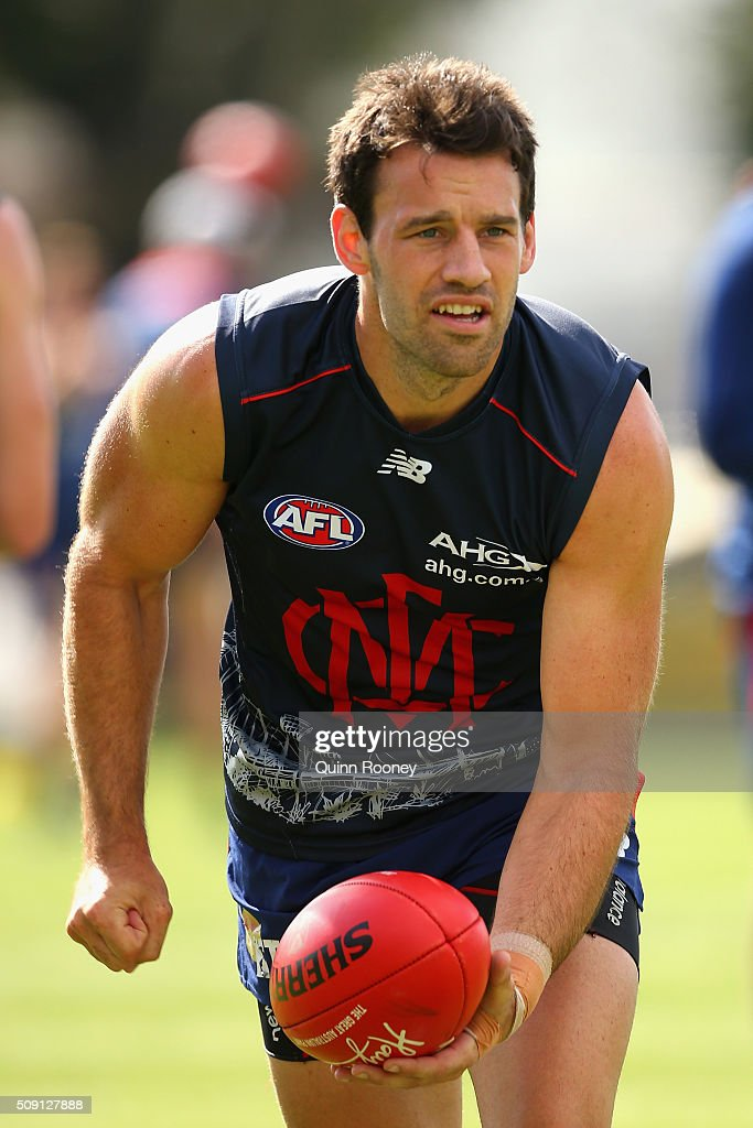 Cameron Pedersen of the Demons handballs during a Melbourne Demons AFL pre-season training session at Gosch's Paddock on February 9, 2016 in Melbourne, Australia.