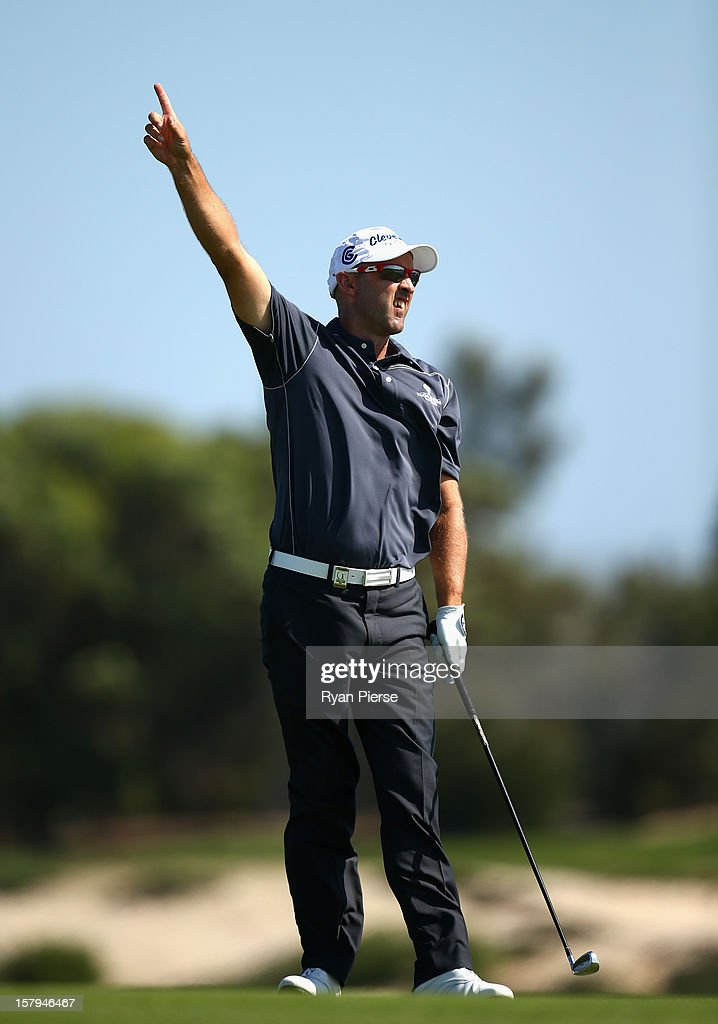 Cameron Percy of Australia reacts during round three of the 2012 Australian Open at The Lakes Golf Club on December 8, 2012 in Sydney, Australia.