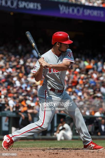 Cameron Perkins of the Philadelphia Phillies at bat against the San Francisco Giants during the fifth inning at ATT Park on August 20 2017 in San...