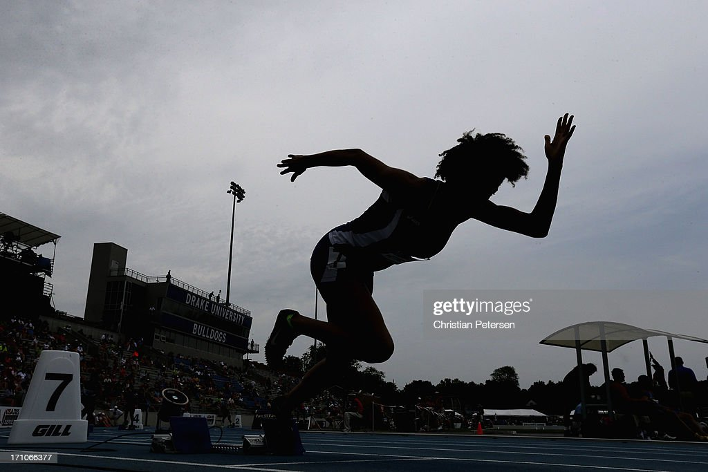 Cameron Pettigrew competes in the Women's Junior 400 Meter Dash on day two of the 2013 USA Outdoor Track & Field Championships at Drake Stadium on June 21, 2013 in Des Moines, Iowa.