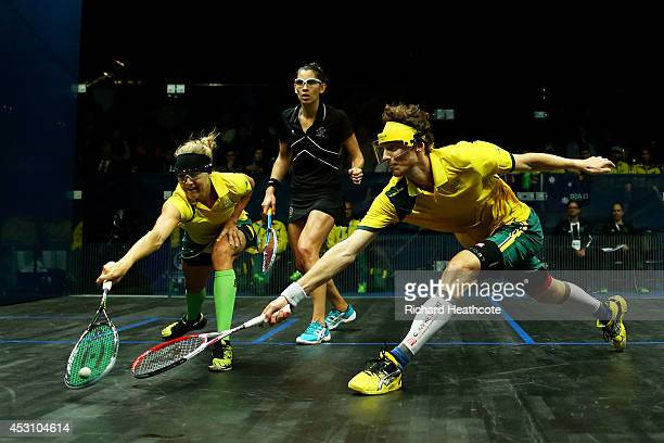 Cameron Pilley and Kasey Brown of Australia and Martin Knight and Joelle Brown of New Zealand compete in the Mixed Doubles Bronze Medall Match at...