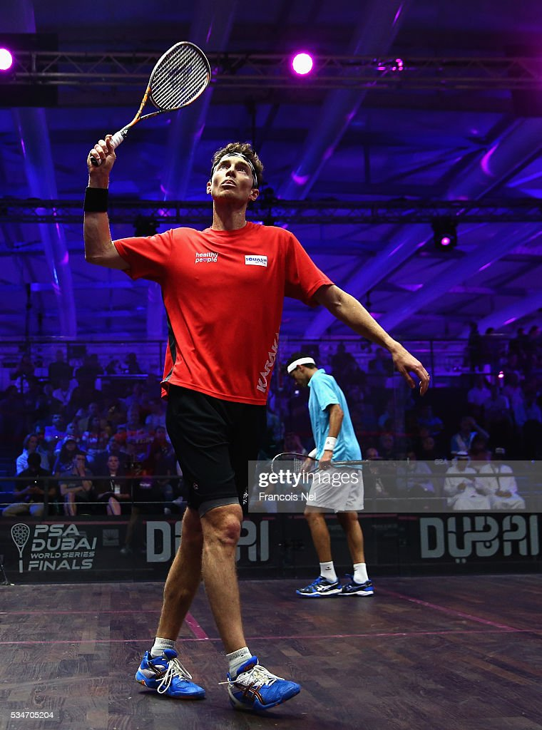 Cameron Pilley of Australia celebrates a point against Mohamed Elshorbagy of Egypt during day four of the PSA Dubai World Series Finals 2016 at Burj Park on May 27, 2016 in Dubai, United Arab Emirates.