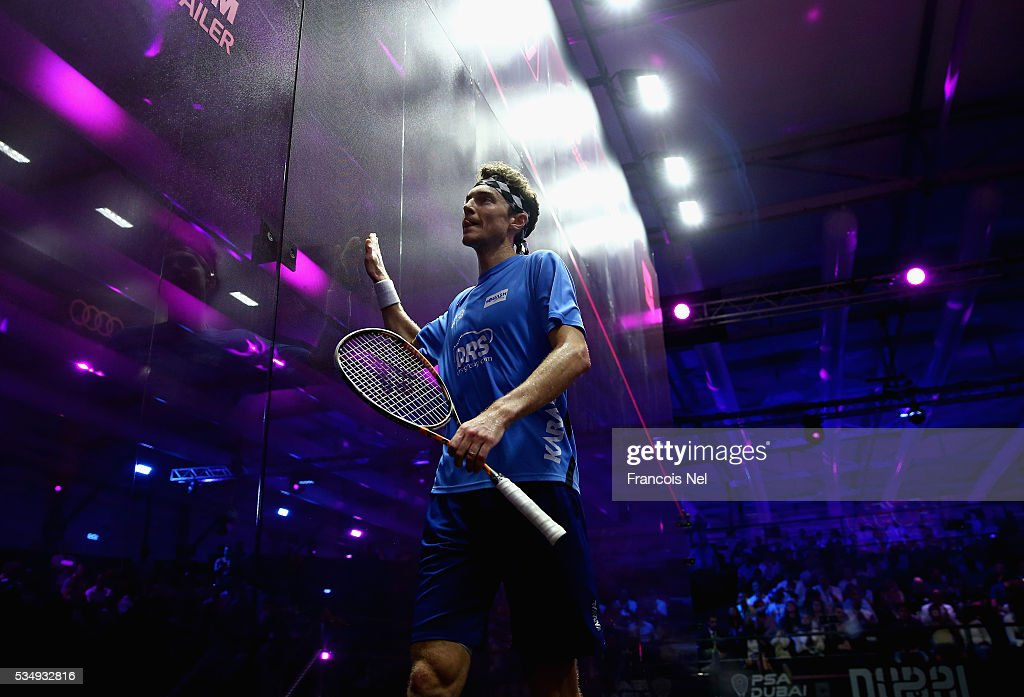 Cameron Pilley of Australia competes against Gregory Gaultier of France during the men's final match of the PSA Dubai World Series Finals 2016 at Burj Park on May 28, 2016 in Dubai, United Arab Emirates.