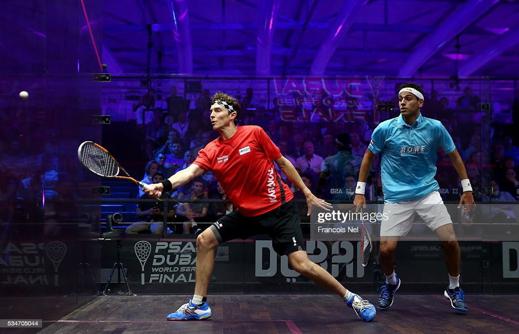 Cameron Pilley of Australia competes against Mohamed Elshorbagy of Egypt during day four of the PSA Dubai World Series Finals 2016 at Burj Park on May 27, 2016 in Dubai, United Arab Emirates.