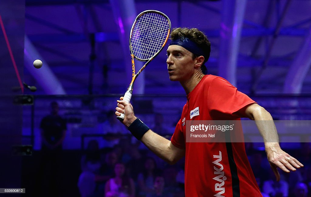 Cameron Pilley of Australia competes against Omar Mosaad of Egypt during day one of the PSA Dubai World Series Finals 2016 at Burj Park on May 24, 2016 in Dubai, United Arab Emirates.