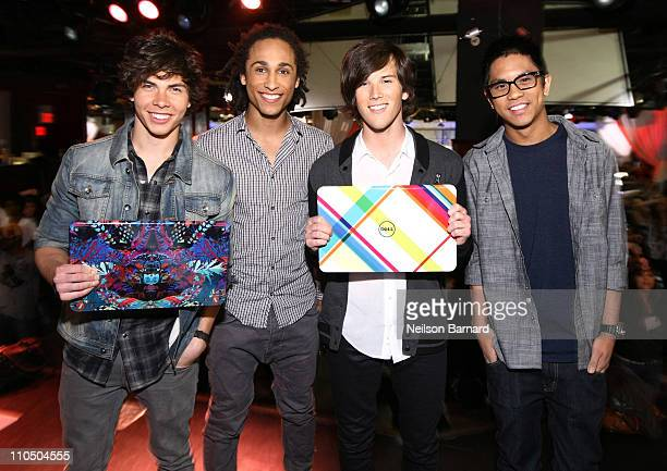 Cameron Quiseng Nathan Darmody Zachary Porter and Michael Martinez of Allstar Weekend attend Dell's SWITCH by Design Studio laptop lid concert at The...