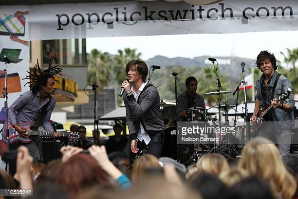 Cameron Quiseng Nathan Darmody Zachary Porter and Michael Martinez of Allstar Weekend perform on stage at Dell's SWITCH by Design Studio laptop lid...