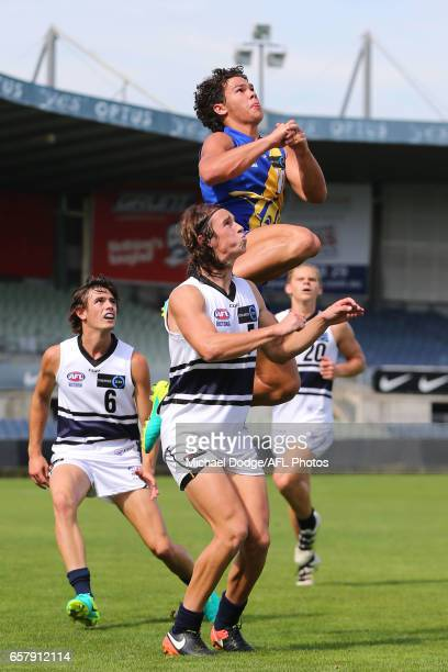 Cameron Rayner of the Jets marks the ball over Ben Kantarovski of the Jets during the 2017 TAC round 01 match between the Western Jets and the...