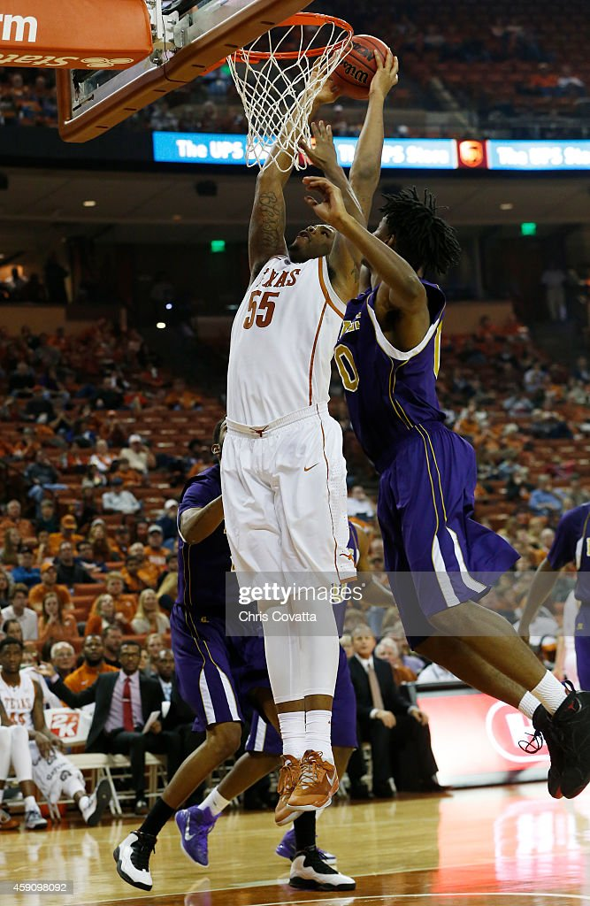 <a gi-track='captionPersonalityLinkClicked' href=/galleries/search?phrase=Cameron+Ridley&family=editorial&specificpeople=7887105 ng-click='$event.stopPropagation()'>Cameron Ridley</a> #55 of the Texas Longhorns dunks the ball ahead of Tyrel Hunt #0 of the Alcorn State Braves at the Frank Erwin Center on November 17, 2014 in Austin, Texas.