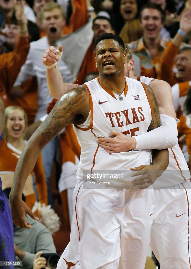 Cameron Ridley #55 of the Texas Longhorns reacts after a slam dunk against the Kansas State Wildcats at the Frank Erwin Center on March 2, 2015 in Austin, Texas.