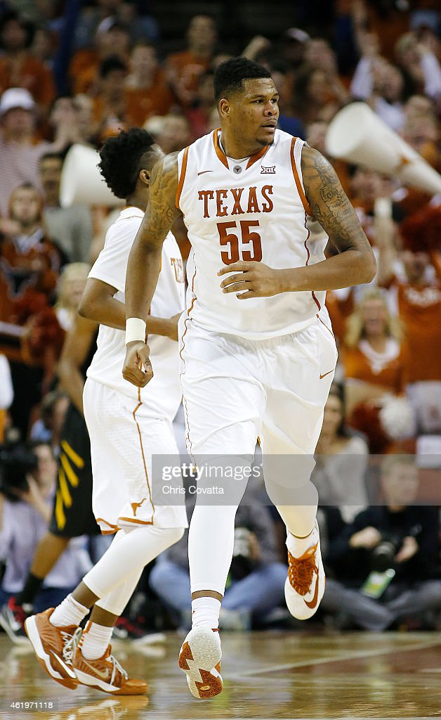 <a gi-track='captionPersonalityLinkClicked' href=/galleries/search?phrase=Cameron+Ridley&family=editorial&specificpeople=7887105 ng-click='$event.stopPropagation()'>Cameron Ridley</a> #55 of the Texas Longhorns runs up court against the West Virginia Mountaineers at the Frank Erwin Center on January 17, 2015 in Austin, Texas.