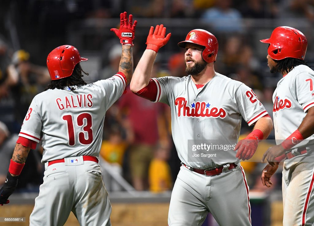 Cameron Rupp #29 celebrates his home run with Freddy Galvis #13 of the Philadelphia Phillies during the ninth inning against the Pittsburgh Pirates at PNC Park on May 19, 2017 in Pittsburgh, Pennsylvania.