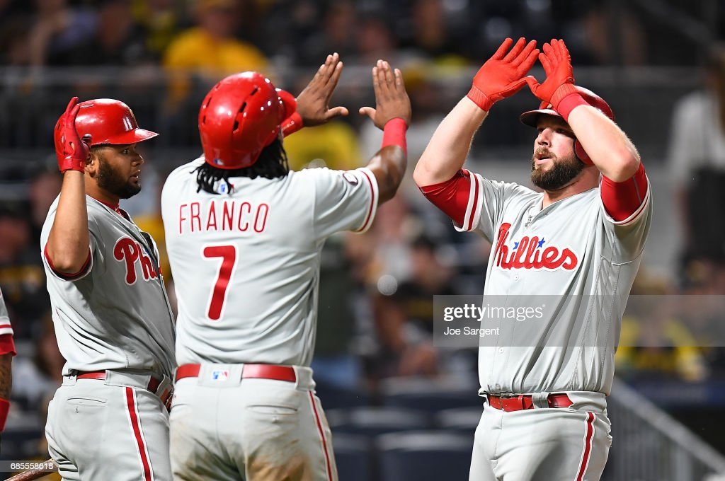 Cameron Rupp #29 celebrates his home run with Maikel Franco #7 of the Philadelphia Phillies during the ninth inning against the Pittsburgh Pirates at PNC Park on May 19, 2017 in Pittsburgh, Pennsylvania.