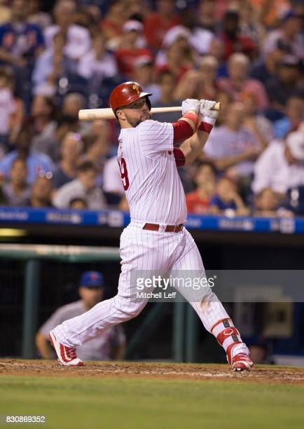 Cameron Rupp of the Philadelphia Phillies bats against the New York Mets at Citizens Bank Park on August 10 2017 in Philadelphia Pennsylvania The...
