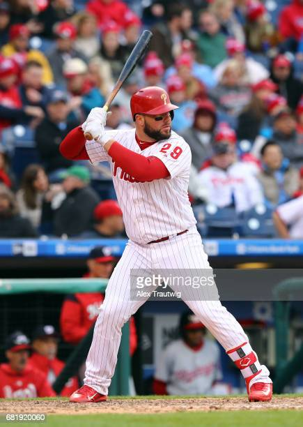 Cameron Rupp of the Philadelphia Phillies bats during the game against the Washington Nationals at Citizens Bank Park on Friday April 7 2017 in...