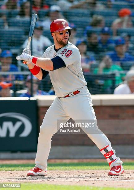 Cameron Rupp of the Philadelphia Phillies bats in an MLB baseball against the New York Mets on July 1 2017 at CitiField in the Queens borough of New...