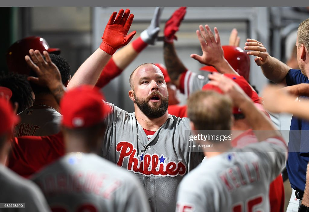 Cameron Rupp #29 of the Philadelphia Phillies celebrates his home run with teammates during the ninth inning against the Pittsburgh Pirates at PNC Park on May 19, 2017 in Pittsburgh, Pennsylvania.