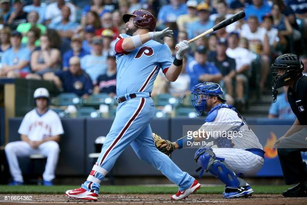 Cameron Rupp of the Philadelphia Phillies hits a double in the second inning against the Milwaukee Brewers at Miller Park on July 15 2017 in...
