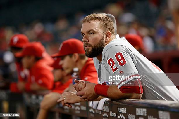 Cameron Rupp of the Philadelphia Phillies in the dugout during the MLB game against the Arizona Diamondbacks at Chase Field on June 29 2016 in...