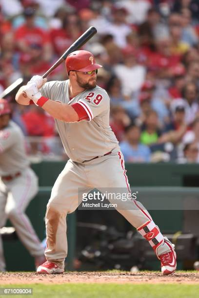 Cameron Rupp of the Philadelphia Phillies prepares for a pitch during the game against the Washington Nationals at Nationals Park on April 16 2017 in...