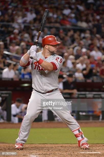 Cameron Rupp of the Philadelphia Phillies stands at bat against the Arizona Diamondbacks at Chase Field on June 23 2017 in Phoenix Arizona The...