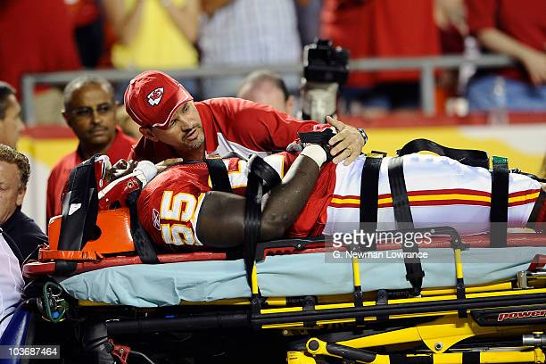 Cameron Sheffield of the Kansas City Chiefs is carted off the field after suffering an injury during a preseason game against the Philadelphia Eagles...