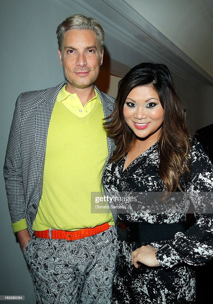 Cameron Silver and Jennifer Chan attend Joe Fresh private dinner hosted by Joe Mimran and Kate Mara at The Chateau Marmont on March 8, 2013 in Los Angeles, California.
