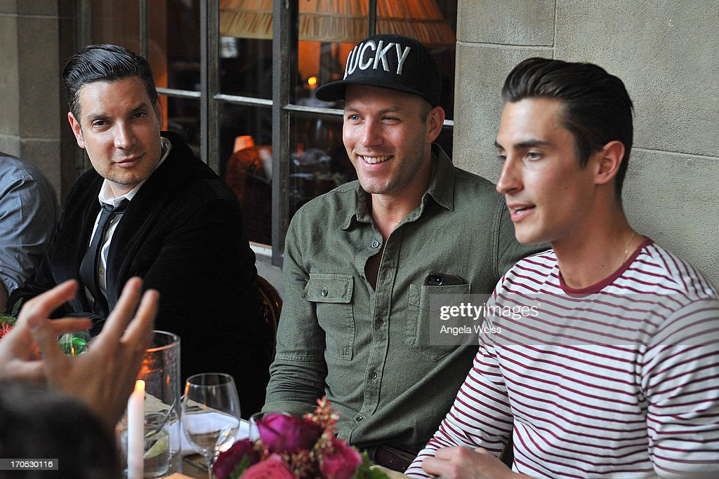 Cameron Silver, Johnny Wujek and Ricky Bennick attend Lucky Brand's Measure of Style Dinner at Chateau Marmont on June 13, 2013 in Los Angeles, California.