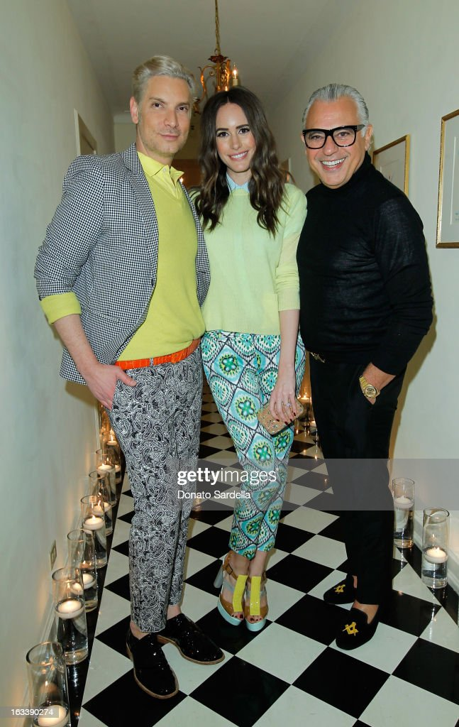 Cameron Silver, Louise Roe and Joe Mimran attend Joe Fresh private dinner hosted by Joe Mimran and Kate Mara at The Chateau Marmont on March 8, 2013 in Los Angeles, California.