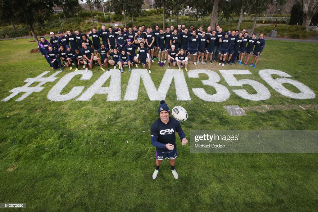 Cameron Smith, about to play his record breaking 356th match, pose with teammates during a Melbourne Storm NRL training session at AAMI Park on September 5, 2017 in Melbourne, Australia.