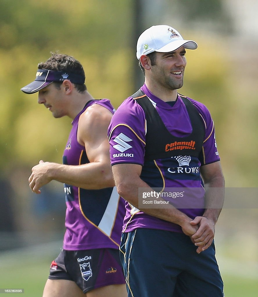 Cameron Smith (R) and Billy Slater of the Storm look on during a Melbourne Storm NRL training session at Gosch's Paddock on March 7, 2013 in Melbourne, Australia.