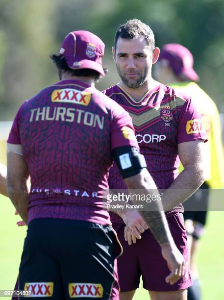 Cameron Smith and Johnathan Thurston have a chat during a Queensland Maroons training session at Sanctuary Cove Resort on June 18 2017 at the Gold...
