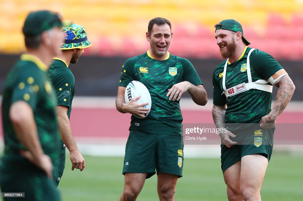 Cameron Smith and Josh McGuire laugh during an Australian Kangaroos Rugby League World Cup training session at Suncorp Stadium on October 11, 2017 in Brisbane, Australia.