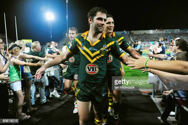 Cameron Smith and Steve Price of Australia acknowledge the crowd after winning the 2008 Rugby League World Cup Pool 1 match between Papua New Guinea...