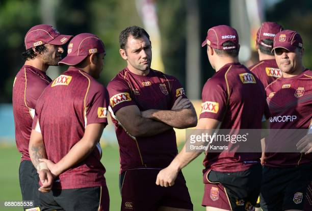 Cameron Smith and team mates talk tactics during a Queensland Maroons State of Origin media opportunity at InterContinental Sanctuary Cove Resort...