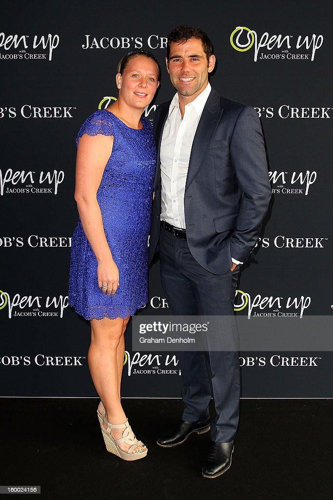 Cameron Smith (R) and wife Barbara Smith arrive at the screening of the Jacob's Creek Open Film Series 2 at Maia Docklands on January 25, 2013 in Melbourne, Australia.