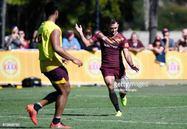 Cameron Smith kicks the ball during a Queensland Maroons State of Origin training session at Sanctuary Cove on July 9 2017 in Brisbane Australia
