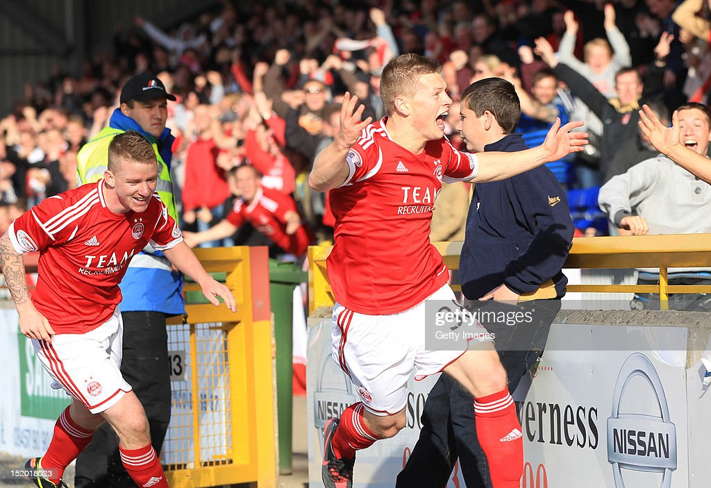 Cameron Smith of Aberdeen celebrates after scoring during the Clydesdale Bank Scottish Premier League match between Inverness Caledonian Thistle and Aberdeen on September 15, 2012 in Inverness, Scotland.
